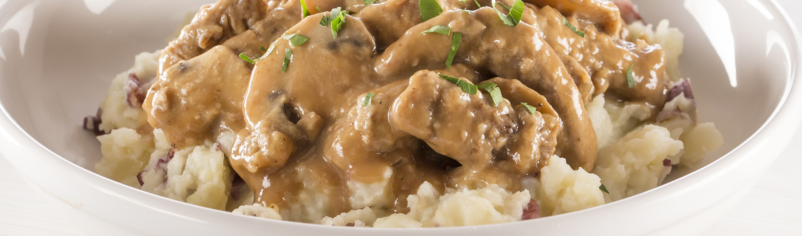 Beef Stroganoff Over Mashed Red Potatoes In My Kitchen
